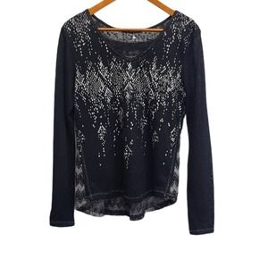 Miss Me Long Sleeve Shirt with Shimmer Detail S